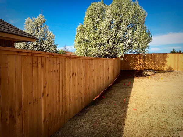 Residential Cedar Cap and Trim Privacy Wood Fence Edmond Oklahoma Fence Company