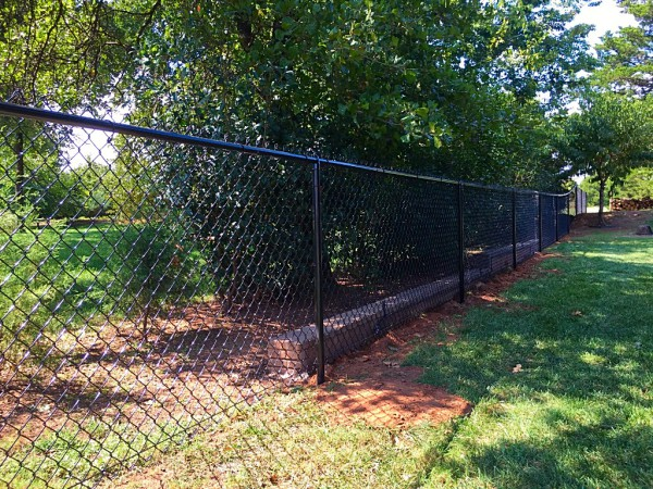 Residential 4' Black Vinyl Chain Link Fence Walk Gate Dog Fence Custom Security Play Yard Kids Edmond Oklahoma Fence and Gate Company