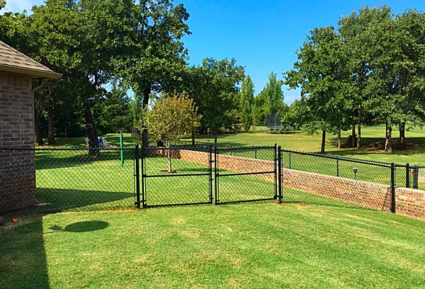 Residential 4' Black Vinyl Chain Link Fence Double Walk Gate Dog Fence Security Play Yard Kids Edmond Oklahoma Fence and Gate Company
