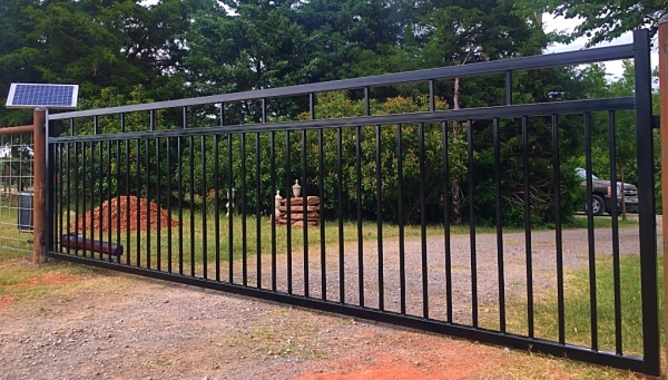 Black iron gate solar power gate opener fence company local edmond gates security