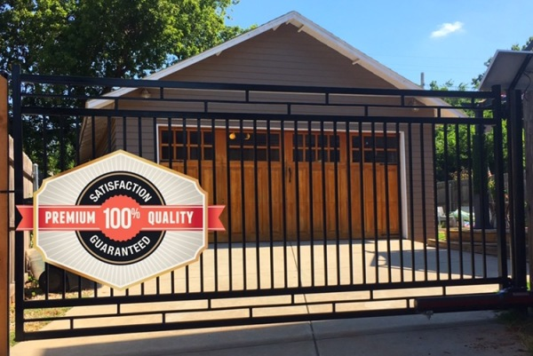 Custom Black Iron Swing Gate with Solar Liftmaster LA500 Gate Opener Edmond Fence and Gates Company Security Access