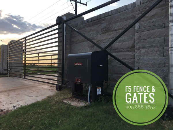 20' Single Slide Cantilever Custom Iron Driveway Gate Liftmaster SL-585 Edmond Oklahoma Gate Company, Gates, Iron Gate, Driveway Gate, Access System, Driveway Security