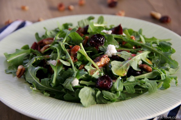 Arugula salad with in house toasted nuts and warm goat cheese