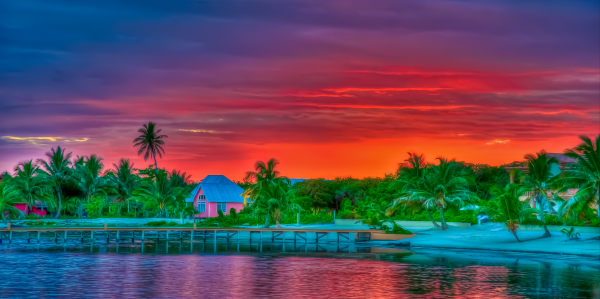 Pink House at Sunset - Belize, C.A.