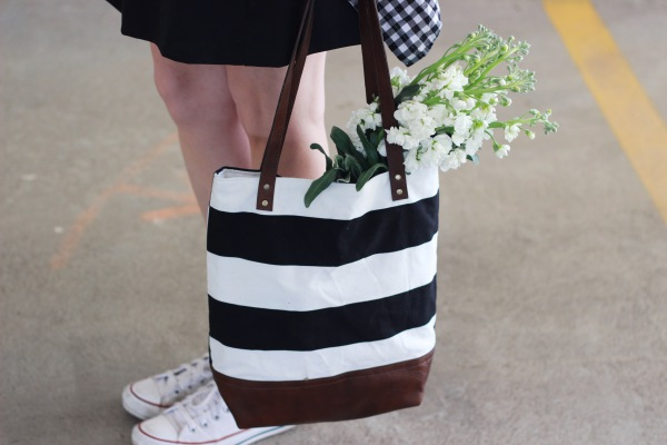 Black and White Wide Stripe Tote