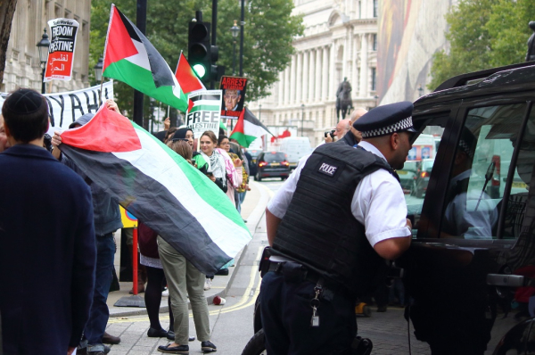 """Netanyahu Not Welcome Here"". Protest in London September 2015"