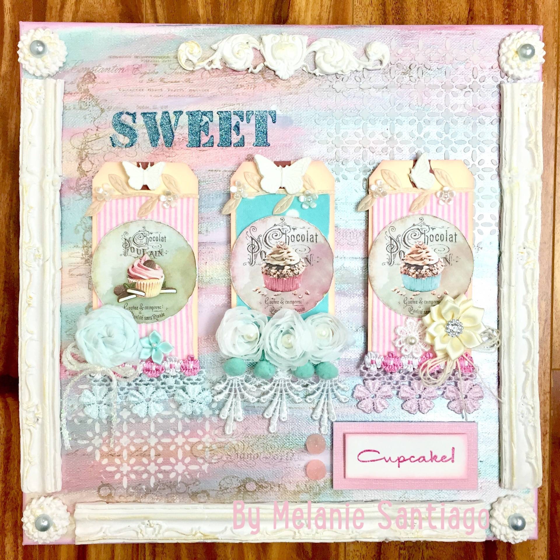 Sweet Cupcake Mixed Media Canvas