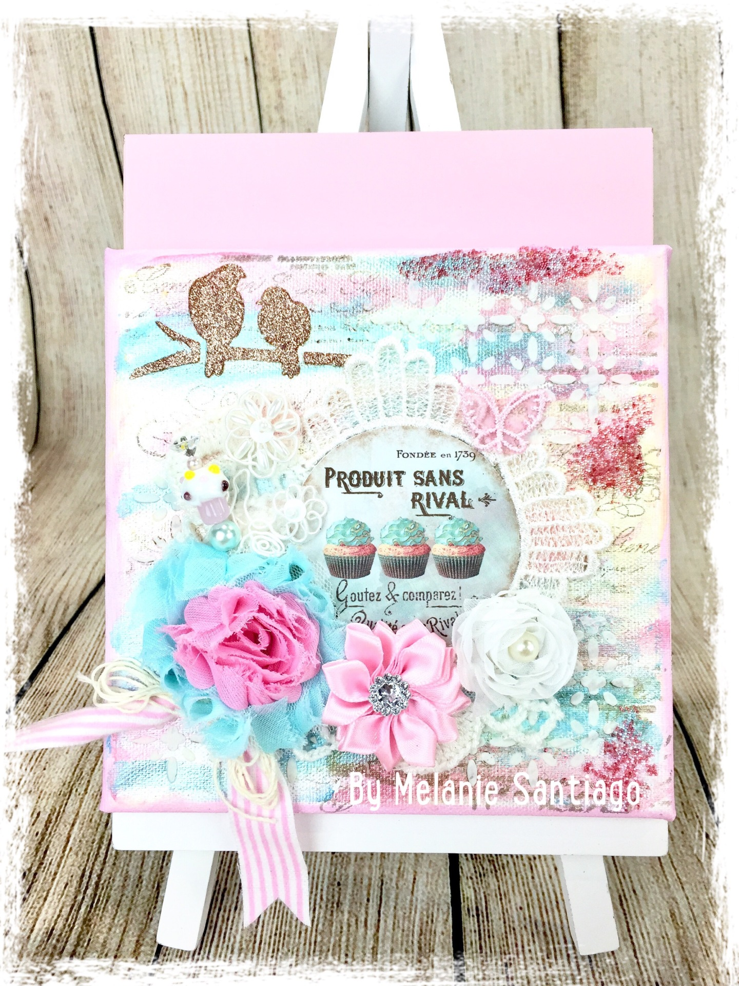 Easy Tutorial Cupcake Mixed Media Canvas