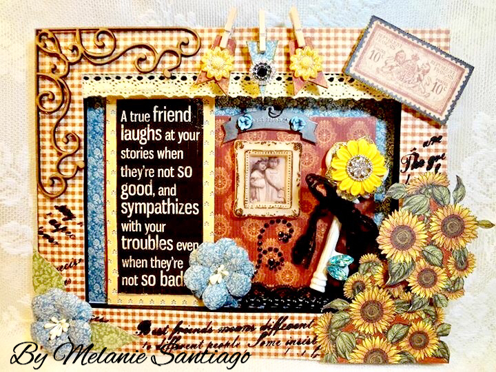 French Country Style Shadow Box, Pin Cushion, Photo Holder and an Easel Card