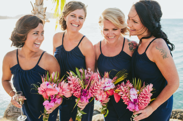 tropical wedding, casual bridesmaids, ginger flower, bougainvillea, pink tropical bouquet