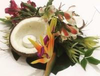 tropical centerpiece, coconut centerpiece, coconut candles, samoan wedding, fiji wedding