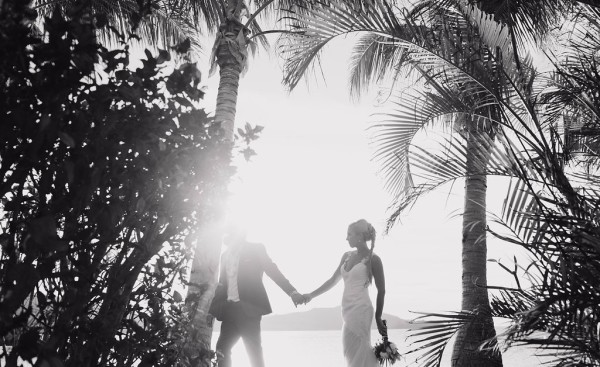 tropical wedding, fiji wedding, island wedding, black and white, palm trees