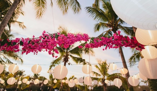 bougainvillea, lanterns, outdoor wedding, beach wedding, pink