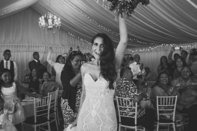 bride dancing at wedding to wedding DJ