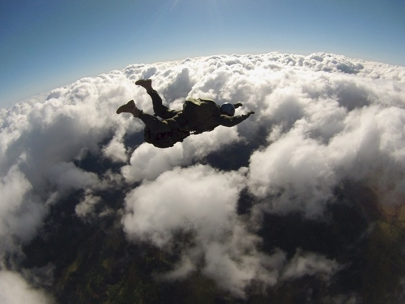 A man sky diving, something on his bucket list