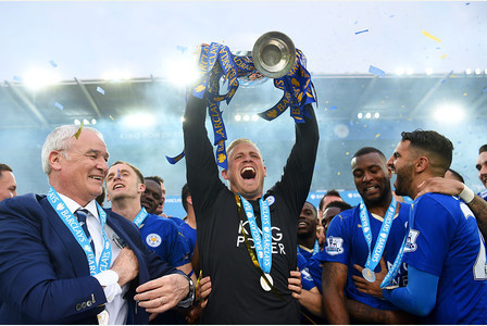 Kasper Schmeichel of Leicester City wins English Football Premier League