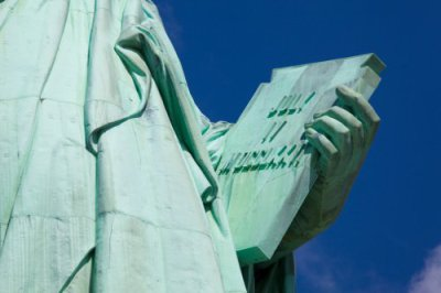 Statue of Liberty holding a tablet engraved with July IV MDCCLXXVI (July 4th 1776, Independence )