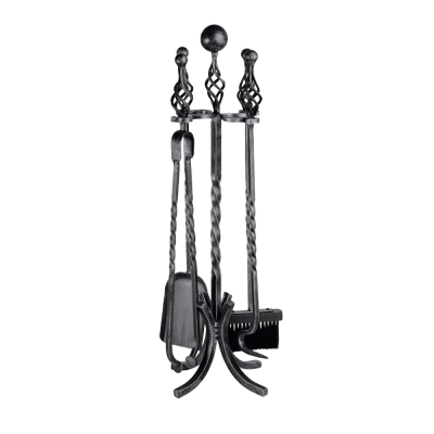 4Pc Ball & Twist Top Wrought Iron Tool Set from Stovax