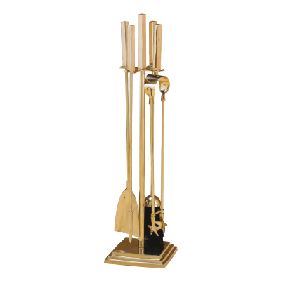 A 4 Piece Brass tool set with square foot from Stovax.