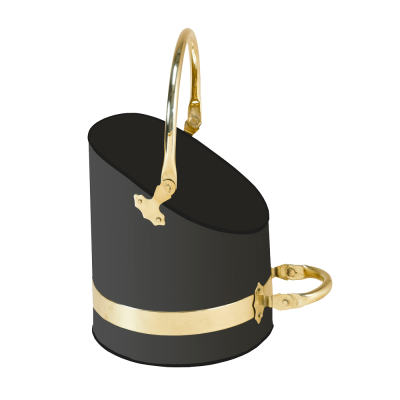 Black & Brass Coal Scuttle from Stovax