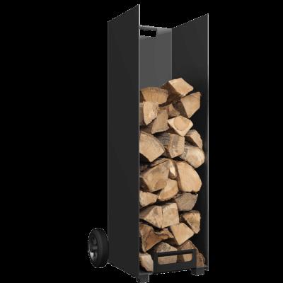Black Log Holder with Wheels- Large