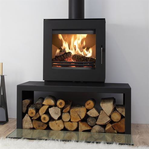 Uniq 23 Block Base Side Glass 6.1Kw Wood Burner