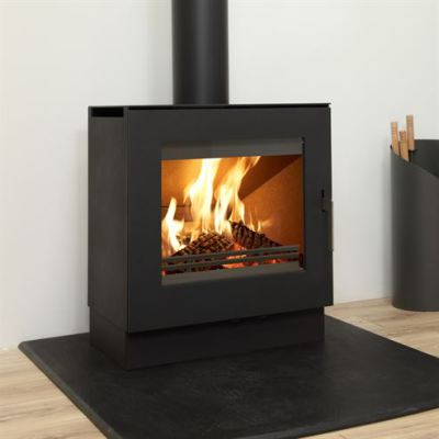 Uniq 23 100mm Block Base Side Glass 6.1Kw Wood Burner