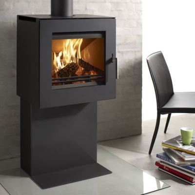 Uniq 23 Pedestal 1 Side Glass 6.1Kw wood Burner