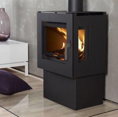 Uniq 23 Pedestal 3 Side Glass 6.1Kw Wood Burner