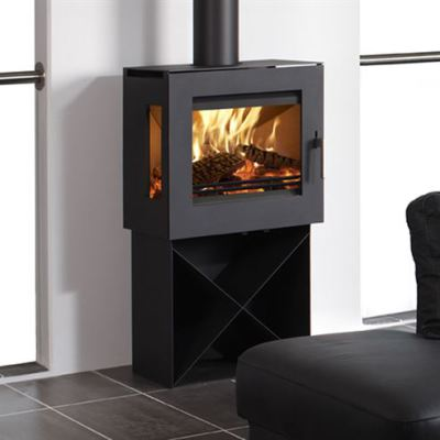 Uniq 23 Pedestal 4 Side Glass 6.1Kw Wood Burner