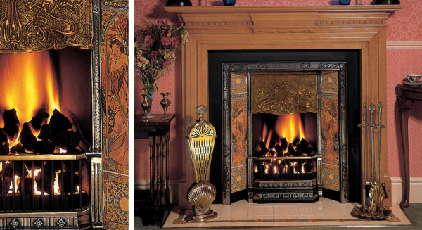 Art Nouveau Tiled Insert Fireplaces