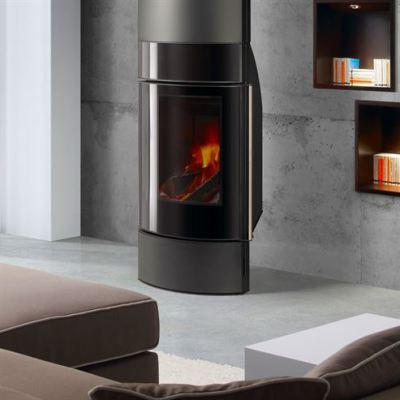 Santorini + Decorative Pipe Cover 10.5Kw Wood Burner