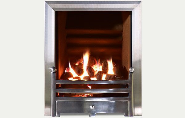 Hotbox decorative open fronted gas fire Polished Steel Trim and Bauhaus Fret