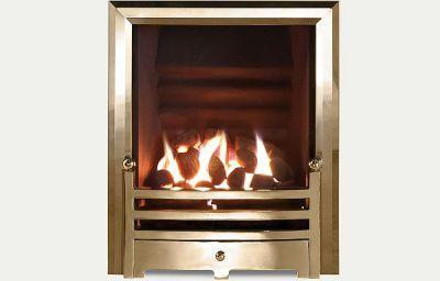 Hotbox decorative open fronted gas fire Antique Brass finish trim and Bauhaus fret