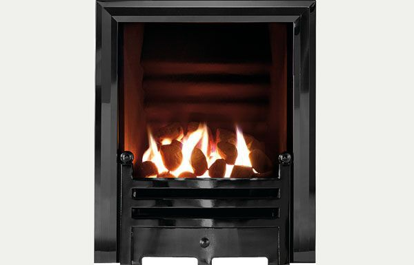 Hotbox decorative open fronted gas fire Diamond black trim and Bauhaus fret