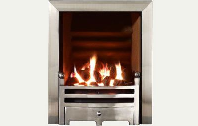 Hotbox decorative open fronted gas fire Brushed Steel Trim and Bauhaus fret polished