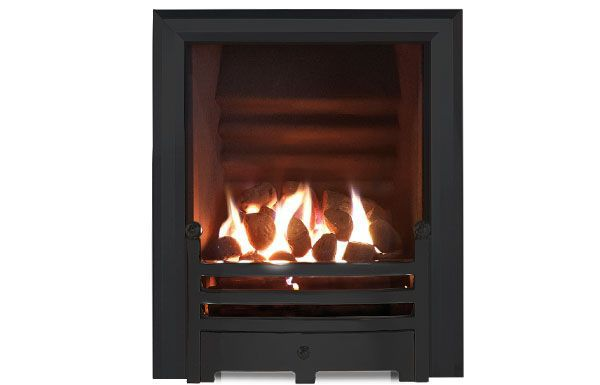 Hotbox decorative open fronted gas fire Black trim and Bauhaus fret