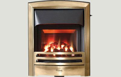 Glass fronted - Flare fireframe glass fronted gas convector fire Antique Brass finish