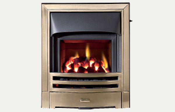 Glass fronted - Mizar fireframe glass fronted gas convector fire Antique Brass finish