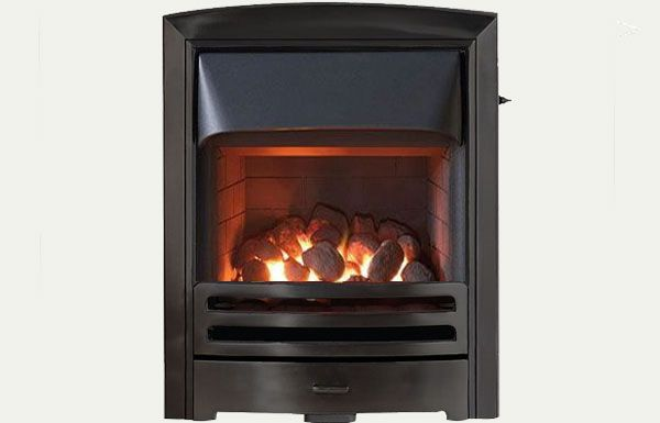 Glass fronted - Flare fireframe open fronted gas convector fire Black