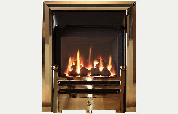 Glass fronted glass fronted gas convector fire with Antique Brass finish trim and Bauhaus fret