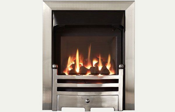 Glass fronted glass fronted gas convector fire with Brushed Steel Trim and Bauhaus fret polished