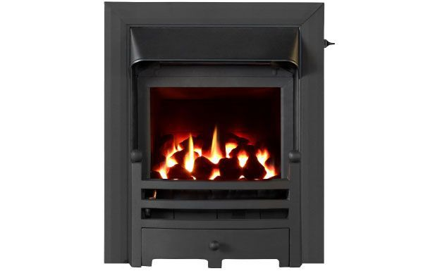 Glass fronted glass fronted gas convector fire with Black trim and Bauhaus fret