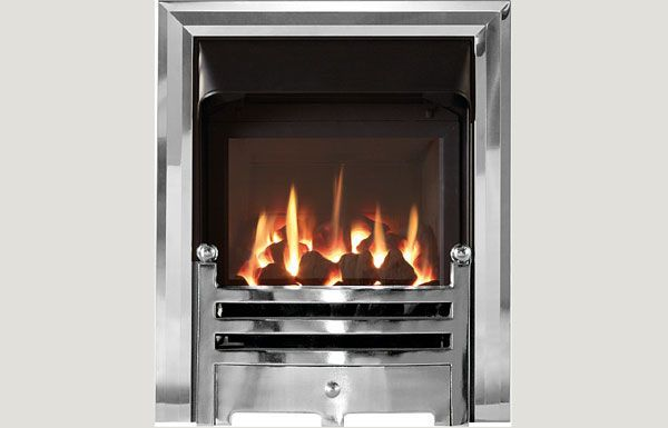 Glass fronted glass fronted gas convector fire with Polished trim and Bauhaus fret chrome finish