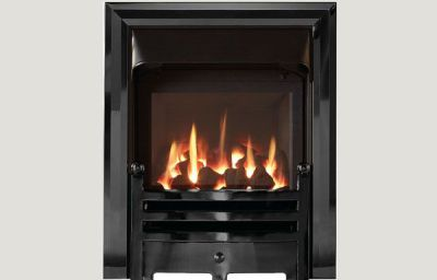 Glass fronted glass fronted gas convector fire with Diamond black trim and Bauhaus fret