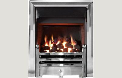 Open fronted open fronted gas convector fire with Polished trim and Bauhaus fret chrome finish