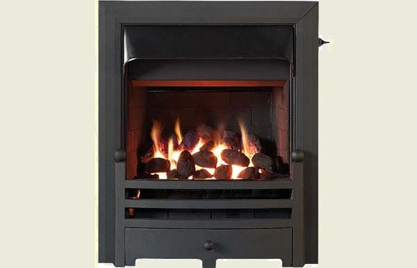 Open fronted open fronted gas convector fire with Black trim and Bauhaus fret