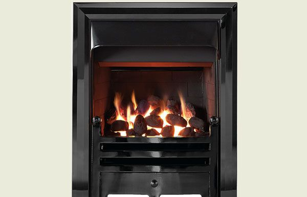 Open fronted open fronted gas convector fire with Diamond black trim and Bauhaus fret