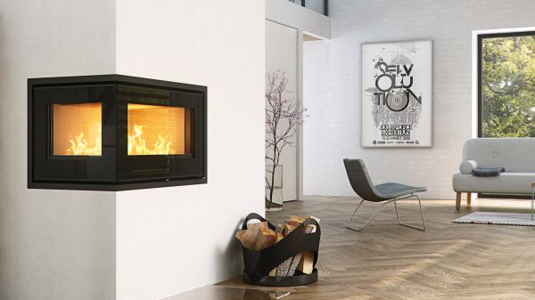 Rais 500-2 8Kw Wood Burning Corner Inset