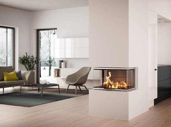 Rais Visio3 9Kw Wood Burning Three Sided Built-In Stove